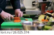 Купить «hands of male chef cook chopping carrot in kitchen», видеоролик № 26025374, снято 18 августа 2019 г. (c) Syda Productions / Фотобанк Лори