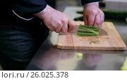 Купить «hands of male cook chopping cucumber in kitchen», видеоролик № 26025378, снято 17 июля 2019 г. (c) Syda Productions / Фотобанк Лори