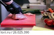Купить «hands of chef chopping poultry meat in kitchen», видеоролик № 26025390, снято 18 июля 2019 г. (c) Syda Productions / Фотобанк Лори
