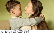 Купить «The happy boy tenderly embraced his mother», видеоролик № 26025890, снято 20 апреля 2017 г. (c) Олег Башкир / Фотобанк Лори