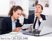 Купить «sad man and sorrowful woman coworkers in firm office», фото № 26026046, снято 19 марта 2019 г. (c) Яков Филимонов / Фотобанк Лори