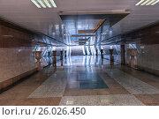 Купить «Длинный подземный переход отделанный гранитом», фото № 26026450, снято 22 сентября 2015 г. (c) Евгений Ткачёв / Фотобанк Лори