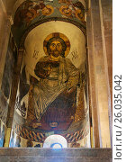 Купить «Image of Jesus Christ. Inside of Svetitskhoveli Cathedral in Mtskheta, Georgia», фото № 26035042, снято 26 сентября 2016 г. (c) Elena Odareeva / Фотобанк Лори