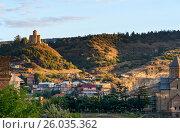 Купить «View of old city and Tabor Monastery at sunset. Tbilisi, Georgia», фото № 26035362, снято 25 сентября 2016 г. (c) Elena Odareeva / Фотобанк Лори