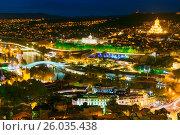 Купить «Night view of center Tbilisi city. Georgia», фото № 26035438, снято 27 сентября 2016 г. (c) Elena Odareeva / Фотобанк Лори