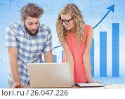 Купить «Man and woman at laptop against blue graph», фото № 26047226, снято 21 ноября 2018 г. (c) Wavebreak Media / Фотобанк Лори