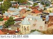 Купить «View of roofs and churh of Old city Tbilisi, Georgia», фото № 26051606, снято 24 сентября 2016 г. (c) Elena Odareeva / Фотобанк Лори