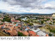 Купить «View of city center Tbilisi. Georgia», фото № 26051710, снято 24 сентября 2016 г. (c) Elena Odareeva / Фотобанк Лори