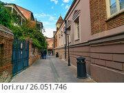 Купить «Street of Old city in Tbilisi, Georgia», фото № 26051746, снято 25 сентября 2016 г. (c) Elena Odareeva / Фотобанк Лори