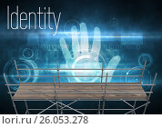 Купить «Identity Text with 3D Scaffolding and hand interface», иллюстрация № 26053278 (c) Wavebreak Media / Фотобанк Лори