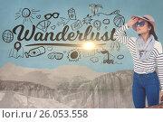 Composite image of wanderlust and woman. Стоковое фото, агентство Wavebreak Media / Фотобанк Лори