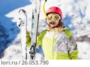 Купить «Funny portrait of skier in diving mask and snorkel», фото № 26053790, снято 22 декабря 2016 г. (c) Сергей Новиков / Фотобанк Лори