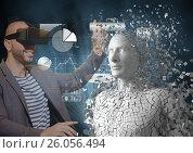 Купить «Smiling man touching 3d human figure while wearing VR glasses», фото № 26056494, снято 22 августа 2018 г. (c) Wavebreak Media / Фотобанк Лори
