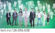 Купить «Digital composite image of image of business people with light bulbs flying in background», фото № 26056638, снято 27 мая 2020 г. (c) Wavebreak Media / Фотобанк Лори