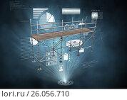 Купить «Interface charts with 3D Scaffolding», фото № 26056710, снято 22 августа 2018 г. (c) Wavebreak Media / Фотобанк Лори