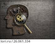 Купить «Psychology or invent concept. Brain model with magnifying glass 3d illustration.», иллюстрация № 26061334 (c) Андрей Кузьмин / Фотобанк Лори