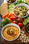 Hummus and vegetables platter with grain salad, фото № 26064142, снято 21 апреля 2017 г. (c) Елена Веселова / Фотобанк Лори