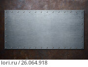 Купить «Old steel frame on rust metal background 3d illustration», иллюстрация № 26064918 (c) Андрей Кузьмин / Фотобанк Лори