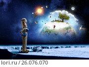 Купить «Dreaming to explore space . Mixed media», фото № 26076070, снято 5 мая 2015 г. (c) Sergey Nivens / Фотобанк Лори