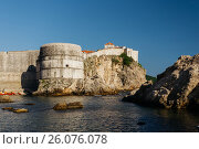Western Harbor and Tower of Bokar in Dubrovnik, Croatia. Стоковое фото, фотограф Андрей Орехов / Фотобанк Лори