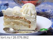 Кусок пломбирного торта на блюдце крупным планом. Стоковое фото, фотограф Яна Королёва / Фотобанк Лори