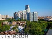 Район Сокольники, вид из парка с колеса обозрения. Москва, Россия (2014 год). Стоковое фото, фотограф Bala-Kate / Фотобанк Лори