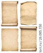 Купить «Old paper scrolls and parchments set realistc 3d illustration», иллюстрация № 26085150 (c) Андрей Кузьмин / Фотобанк Лори