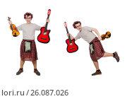 Купить «Funny scotsman with musical instrument isolated on white», фото № 26087026, снято 9 апреля 2014 г. (c) Elnur / Фотобанк Лори