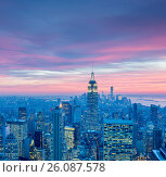 Купить «View of New York Manhattan during sunset hours», фото № 26087578, снято 20 декабря 2013 г. (c) Elnur / Фотобанк Лори