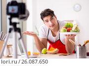 Купить «Food nutrition blogger recording video for blog», фото № 26087650, снято 10 января 2017 г. (c) Elnur / Фотобанк Лори
