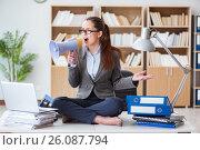 Купить «Businesswoman with loudspeaker in office», фото № 26087794, снято 13 января 2017 г. (c) Elnur / Фотобанк Лори