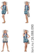 Купить «Collage of woman with panama hat isolated on white», фото № 26088090, снято 22 апреля 2019 г. (c) Elnur / Фотобанк Лори