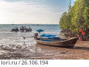 Купить «Разгрузка тайских лодок во время отлива. Плавучий пирс на пляже Railay East Beach. Королевство Таиланд, провинция Краби, полуостров Рейли», фото № 26106194, снято 27 января 2017 г. (c) Владимир Сергеев / Фотобанк Лори