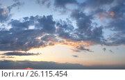 Купить «Sunset sky with clouds», фото № 26115454, снято 22 сентября 2018 г. (c) Юрий Брыкайло / Фотобанк Лори