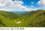 Купить «Summer mountain meadow panorama», фото № 26115494, снято 23 января 2019 г. (c) Юрий Брыкайло / Фотобанк Лори