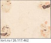 Купить «Оборотная сторона старой фотографии, испачканной засохшим клеем остатками оторванной бумаги», иллюстрация № 26117462 (c) александр афанасьев / Фотобанк Лори