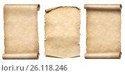 Купить «Old paper scrolls or parchments realistc 3d illustration set», иллюстрация № 26118246 (c) Андрей Кузьмин / Фотобанк Лори