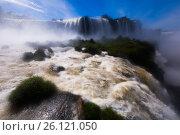 Waterfall Cataratas del Iguazu on Iguazu River, Brazil (2017 год). Стоковое фото, фотограф Яков Филимонов / Фотобанк Лори