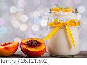 Купить «Yogurt with peaches, bokeh background, closeup», фото № 26121502, снято 22 августа 2015 г. (c) Oksana Zh / Фотобанк Лори