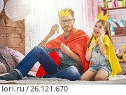 Купить «father and daughter play», фото № 26121670, снято 17 февраля 2017 г. (c) Константин Юганов / Фотобанк Лори