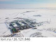 Купить «Предприятие газоперерабатывающей промышленности на севере западной Сибири, вид сверху», фото № 26121846, снято 3 апреля 2017 г. (c) Владимир Мельников / Фотобанк Лори