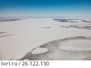 Река Енисей в нижнем течении зимой, вид сверху, фото № 26122130, снято 9 апреля 2017 г. (c) Владимир Мельников / Фотобанк Лори