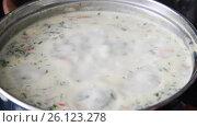 Купить «Cheese soup with herbs cooked in pan», видеоролик № 26123278, снято 30 апреля 2017 г. (c) Володина Ольга / Фотобанк Лори