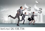 Купить «Businesspeople chasing angel investor funding», фото № 26138734, снято 22 ноября 2018 г. (c) Elnur / Фотобанк Лори