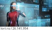 Купить «woman in virtual reality glasses and microchip», фото № 26141954, снято 17 ноября 2012 г. (c) Syda Productions / Фотобанк Лори