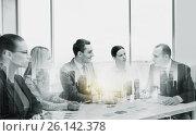 Купить «smiling business team at office meeting», фото № 26142378, снято 9 ноября 2013 г. (c) Syda Productions / Фотобанк Лори