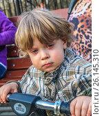 Купить «Лицо обиженного заплаканного мальчика», эксклюзивное фото № 26145310, снято 30 апреля 2017 г. (c) Виктор Тараканов / Фотобанк Лори
