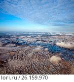Болота Западной Сибири поздней осенью, вид сверху, фото № 26159970, снято 17 ноября 2010 г. (c) Владимир Мельников / Фотобанк Лори