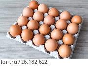 Купить «Brown chicken eggs in cardboard box», фото № 26182622, снято 28 апреля 2017 г. (c) Володина Ольга / Фотобанк Лори
