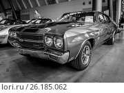 "STUTTGART, GERMANY - MARCH 03, 2017: Mid-size car Chevrolet Chevelle SS, 1970. Black and white. Europe's greatest classic car exhibition ""RETRO CLASSICS"" Редакционное фото, фотограф Sergey Kohl / Фотобанк Лори"